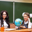 Teacher and pupil in geography class. — Stock Photo #77898974