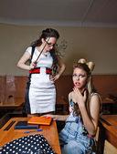 Teacher scolds a pupil for failure of homework. — Stock Photo