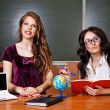 Teacher and student in geography lessons. — Stock Photo #78328178