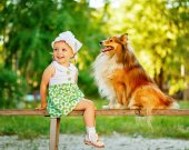 Little girl and dog sitting on a bench. — Stock Photo