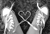 Love heart baseball boots sneakers laces — Zdjęcie stockowe