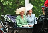 LONDON, UK - JUNE 13: Kate Middleton and Camilla Rosemary seat on the Coach at Queen's Birthday Parade, also known as Trooping the Colour ceremony, on June 13, 2015 in London, England, UK — Stock Photo