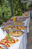 Catering buffet in the castle — Stock Photo
