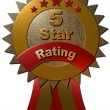 5 Star Rating Seal with ribbons — Stock Photo #62029021