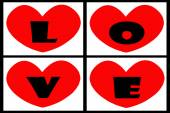 Red heart forming the word love — Stock Photo