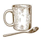 engraving antique illustration of  mug and spoon  — Stok Vektör