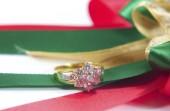Wedding  ring with decoration background — Stock Photo