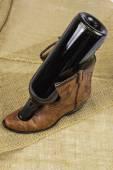 Cowboy Boot and Wine Bottle — ストック写真