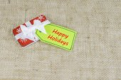 Small Holiday Christmas Gift With Card — Foto de Stock