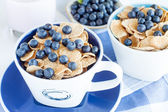 Cornflakes with fresh blueberries  — Stock Photo