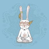 Cute bunny meditates — Stock Vector