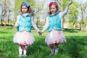 Two little girls in park — Stock Photo