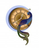 時計と孔雀します。 — ストックベクタ