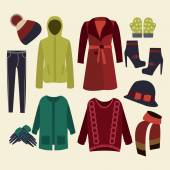 Winter clothes collection — Stock Vector