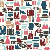 Seamless pattern with shopping icons-illustration — Stock Vector