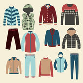Winter clothes Group of Objects-illustration — Stock Vector
