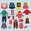Collection of  children's clothing - Illustration — Stock Vector #55679537