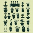 Icons set of Plant silhouette collection - Illustration — Stock Vector #56776575
