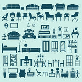 Icons set interior collection-silhouettes — Vecteur