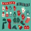 Set of cute warm Christmas mittens, stockings and hats — Stock Vector #57638859