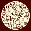 ������, ������: Set of Jewelry and perfume Icons silhouette