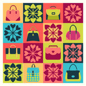 Group of Objects icons set of Fashion Bags — Stock Vector