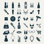 móda a ženy doplňky, ikony — Stock vektor #59136971