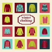 Set of winter fashion clothing collection  — Stock Vector