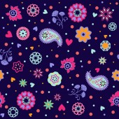 Retro summer flowers pattern- Illustration — Stock Vector