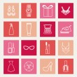 Set of female fashion accessories Beauty icons — Stock Vector #61715489
