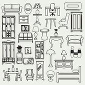 Furniture icons set - Illustration — Stock Vector