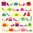 Fashion Women bags handbags and High Heels shoes — Stock Vector #63261591
