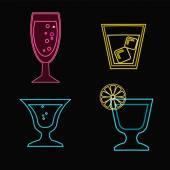 Neon Cocktail glasses - Illustration — Stock Vector