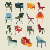 Set icons of chairs interior furniture — Stockvektor