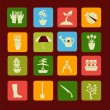 Set icons of gardening and spring related items. — Stock Vector #63567239