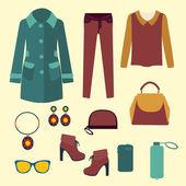 Vector vector fashion clothes and accessories for women for desi — Vector de stock