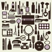 Cosmetics and makeup black and white icon set - Illustration  — Stock Vector