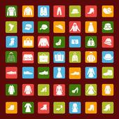Het vastgestelde pictogram van mannen en vrouwen mode kleding en accessoires — Stockvector