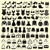 Fashion  Female cloth collection. — Vettoriale Stock