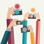 Modern flat photographers hands with devices take photo  — Stockvektor
