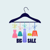 Hanger with clothing - Illustration — Stock Vector