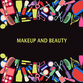 Vector background of MakeUp and beauty cosmetic Symbols. — Stock Vector