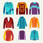 men's knitted sweaters icon set  — Stock Vector