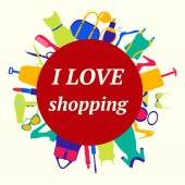 Love Shopping  background. — Stock Vector