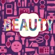 Makeup cosmetic and beauty silhouettes set icon background — Stock Vector #74696639
