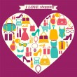 Colorful shopping icons in heart shape. I love shopping — Stock Vector #75584717