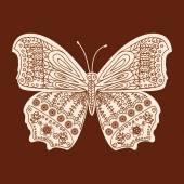 Henna butterfly Mehndi Design Element — Stock Vector