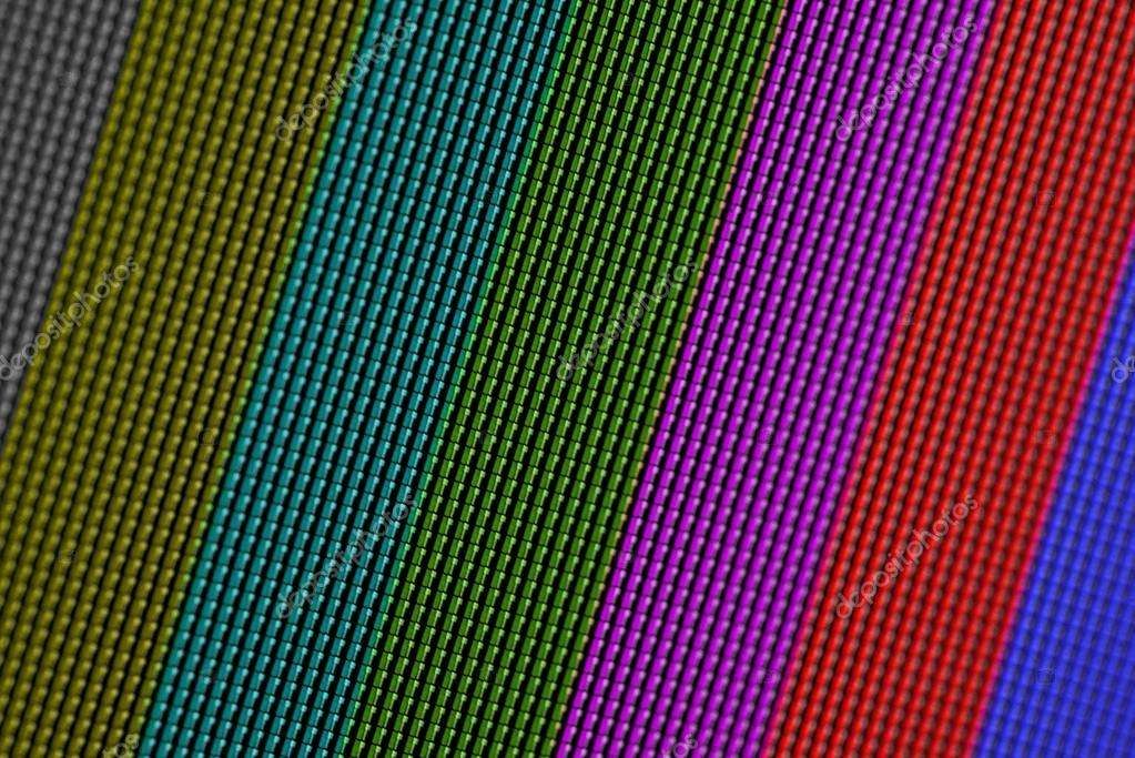 Closeup pixels of LCD TV screen with color bars is a