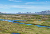 Scenic view of famous Thingvellir with Oxara river, Iceland. — Stock Photo