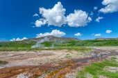 Landscape near famous Geysir area in Iceland — Stock Photo